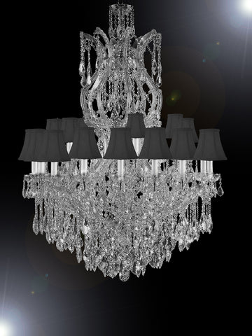 "Maria Theresa Chandelier Crystal Lighting Chandeliers Dressed With Empress Crystal (Tm) H 50"" W 37"" With Shades Great For Large Foyer / Entryway - G83-Sc/Blackshade/Cs/2232/24+1"