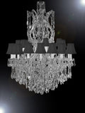 "Maria Theresa Crystal Lighting Chandeliers Dressed With Crystal H 50"" W 37"" W... - G83-Sc/Blackshade/Cs/2232/24+1Sw"