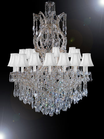 "Maria Theresa Chandelier Dressed With Crystal H 50"" W 37"" With Shades Great For Large Foyer / Entryway Trimmed With Spectra (Tm) Crystal - Reliable Crystal Quality By Swarovski - Antique French Gold Color - G83-Sc/Whiteshade/Cg/2232/24+1Sw"