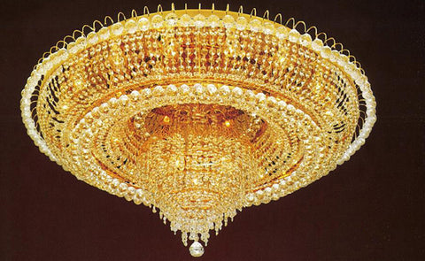 "French Empire Crystal Flush Chandelier Lighting H 19"" W 39"" - H905-Lys-6649"