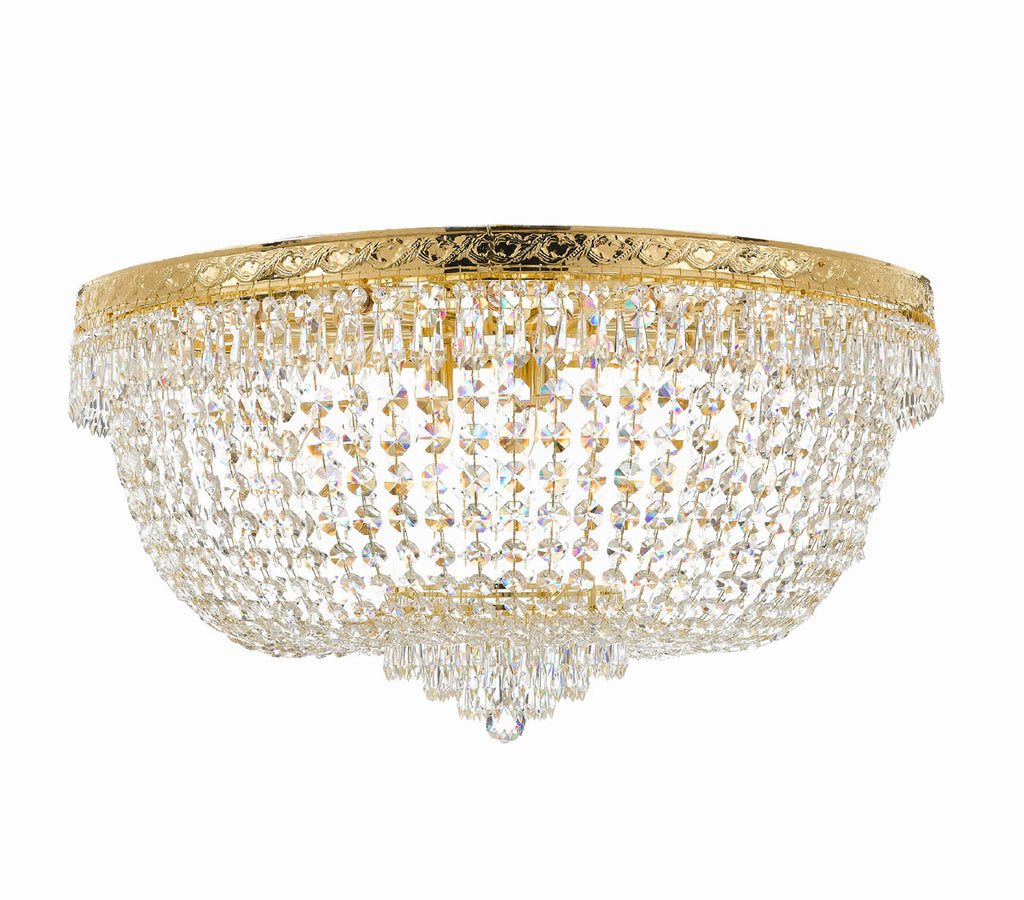 "Nail Salon French Empire Crystal Flush Chandelier Chandeliers Lighting - Great for the Dining Room, Foyer, Entryway, Family Room, Bedroom, Living Room and More! H 20"" W 36"" 25 Lights - G93-FLUSH/CG/4199/25"