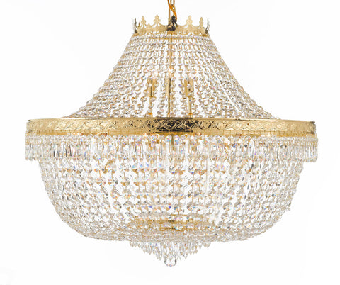 "Nail Salon French Empire Crystal Chandelier Chandeliers Lighting - Great for the Dining Room, Foyer, Entryway, Family Room, Bedroom, Living Room and More! H 30"" W 36"" 25 Lights - G93-H30/CG/4199/25"