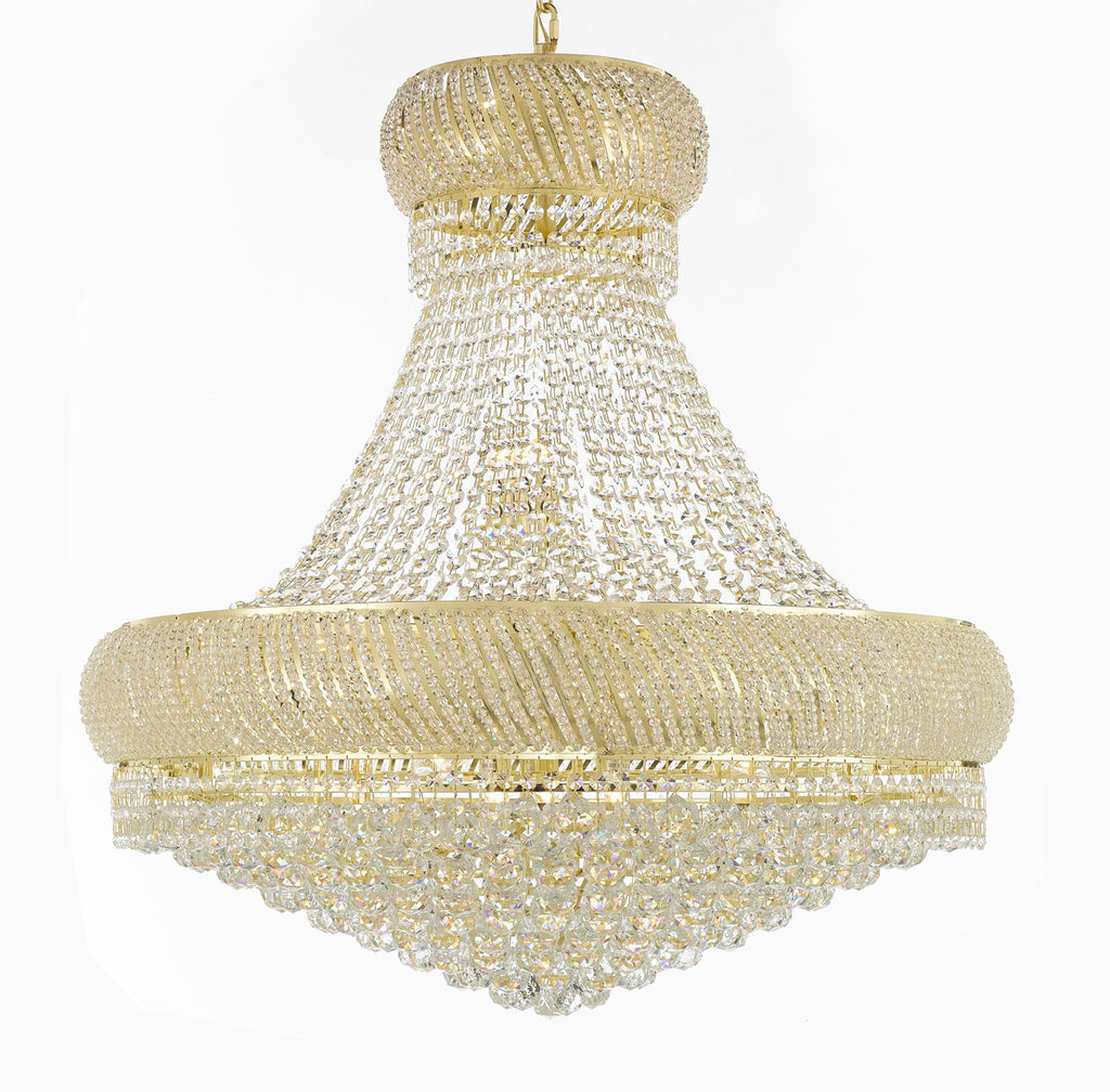 "Nail Salon French Empire Crystal Chandelier Chandeliers Lighting - Great for the Dining Room, Foyer, Entryway, Family Room, Bedroom, Living Room and More! H 36"" W 36"" 27 Lights - G93-H36/CG/4196/27"