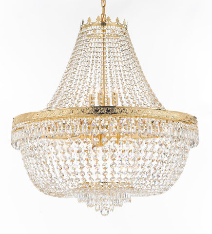 "Nail Salon French Empire Crystal Chandelier Chandeliers Lighting - Great for the Dining Room, Foyer, Entryway, Family Room, Bedroom, Living Room and More! H 36"" W 36"" 25 Lights - G93-H36/CG/4199/25"