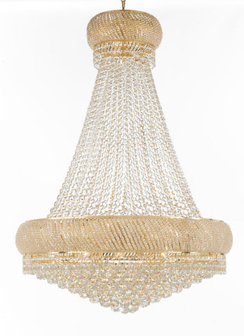"Nail Salon French Empire Crystal Chandelier Chandeliers Lighting - Great for the Dining Room, Foyer, Entryway, Family Room, Bedroom, Living Room and More! H 50"" W 36"", 27 Lights - G93-H50/CG/4196/27"