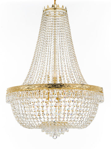 "Nail Salon French Empire Crystal Chandelier Chandeliers Lighting - Great for the Dining Room, Foyer, Entryway, Family Room, Bedroom, Living Room and More! H 50"" W 36"", 25 Lights - G93-H50/CG/4199/25"