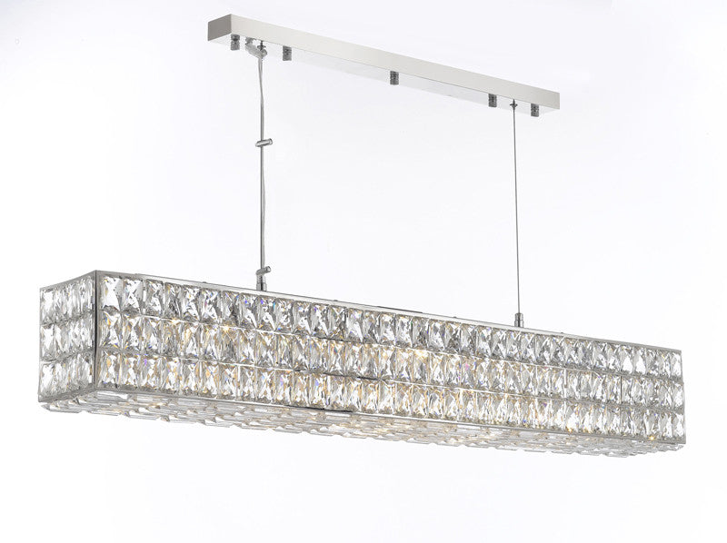 "Crystal Spiridon Linear Chandelier Modern / Contemporary 48.5"" Wide - Good For Dining Room Foyer Entryway Family Room Etc W48.5"" H6.5"" - Gb104-3063/10"