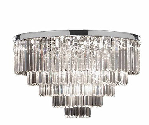 "Flush Retro Palladium Crystal Glass Fringe Chandelier Chrome Finish H25"" W33.5"" - G7-Flush/2164/18"