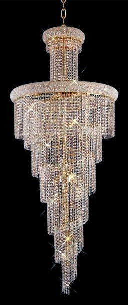ZC121-V1800SR30G By REGENCY - Spiral Collection 24k Gold Plated Finish Chandelier