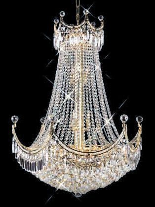 ZC121-V8949D30G By REGENCY - Corona Collection 24k Gold Plated Finish Chandelier