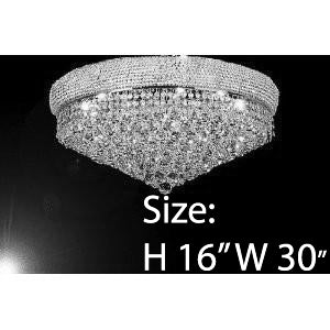 "French Empire Crystal Flush Chandelier Lighting H16"" W30"" - G93-Flush/Silver/541/24"