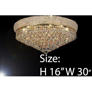 "Swarovski Crystal Trimmed Chandelier French Empire Crystal Flush Chandelier Lighting H16"" X W30"" - G93-Flush/541/24 Sw"