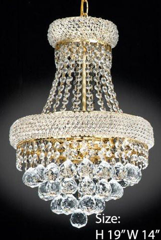 French Empire Crystal Chandelier Chandeliers Lighting H19 X Wd14 3 Lights Empire - J10-541/3 GOLD