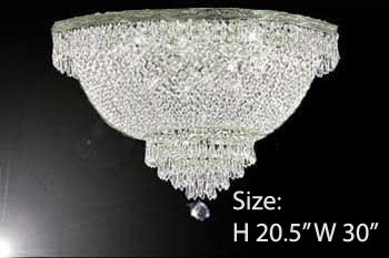 "Flush Basket French Empire Crystal Chandelier Lighting H20.5"" X W30"" - A93-Flush/Cs/870/14"