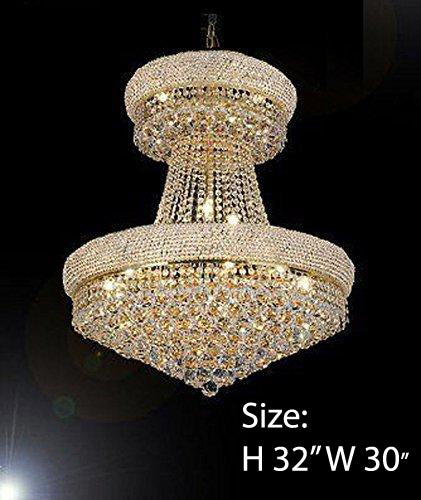 "FRENCH EMPIRE CRYSTAL CHANDELIER CHANDELIERS DRESSED WITH SWAROVSKI CRYSTAL- H32"" x W30"" - Good for Dining Room Foyer Entryway Family Room Bedroom Living Room and More! - F93-B92/CG/541/24SW"