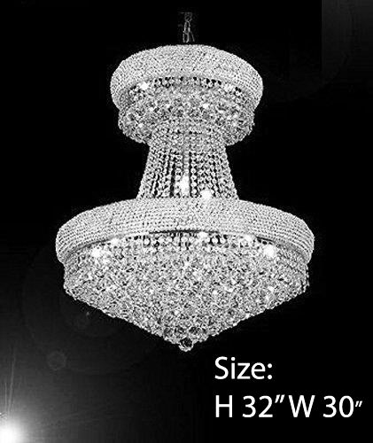 "French Empire Crystal Chandelier Chandeliers Dressed With Swarovski Crystal- H32"" X W30"" - Good For Dining Room Foyer Entryway Family Room Bedroom Living Room And More - F93-B92/Cs/541/24Sw"