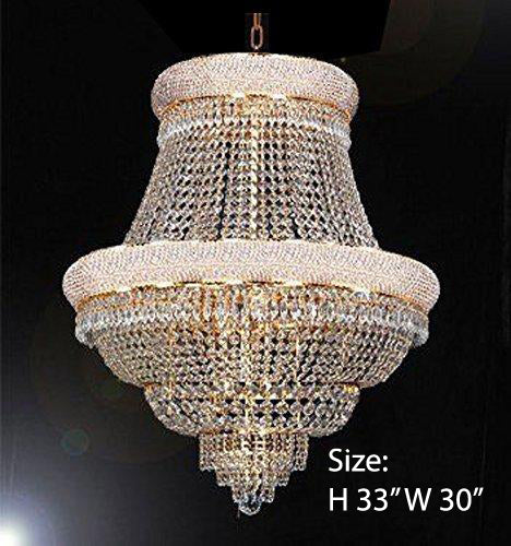 "French Empire Crystal Chandelier Lighting H33"" X W30"" - Good for Dining Room Foyer Entryway Family Room Bedroom Living Room and More! - F93-B92/CG/448/21"