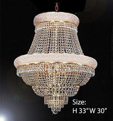 "FRENCH EMPIRE CRYSTAL CHANDELIER CHANDELIERS DRESSED WITH SWAROVSKI CRYSTAL- H33"" x W30"" - Good for Dining Room Foyer Entryway Family Room Bedroom Living Room and More! - F93-B92/CG/448/21SW"
