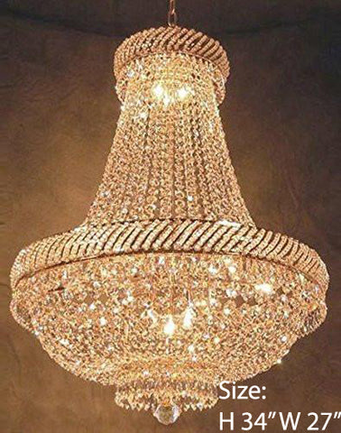 "French Empire Crystal Chandelier Lighting H34"" X W27"" - F93-448/12"