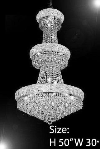 "Empire Chandelier Lighting W/ Swarovski Crystal H50"" X W30"" - Perfect For An Entryway Or Foyer - F93-Silver/541/24Sw"