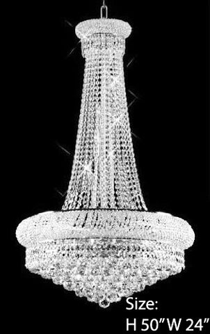 "Swarovski Crystal Trimmed Chandelier French Empire Crystal Chandelier H50"" X W24"" - A93-Large/Silver/542/15 Sw"