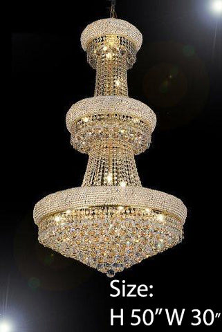 "Empire Chandelier Lighting W/ Swarovski Crystal H50"" X W30"" - Perfect For An Entryway Or Foyer - F93-541/24Sw"
