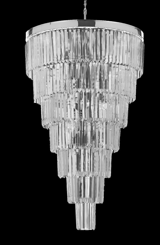 "Retro Palladium Empress Crystal (Tm) Glass Fringe 7 Tier Chandelier Lighting W 30"" x H 49"" - J10-26022/28"