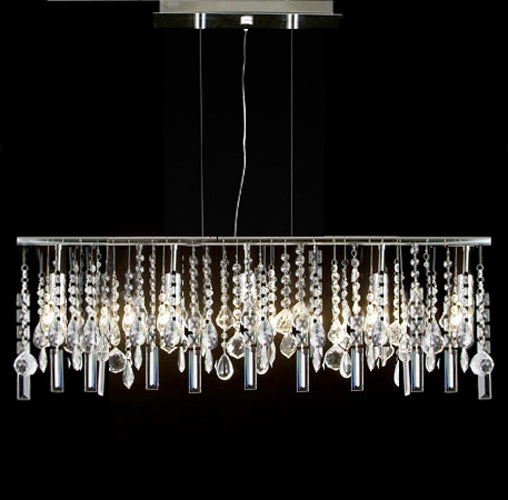 "Modern Contemporary Linear Chandelier Lighting Lamp W/ Crystal H58"" X W38"" - G7-830/5"