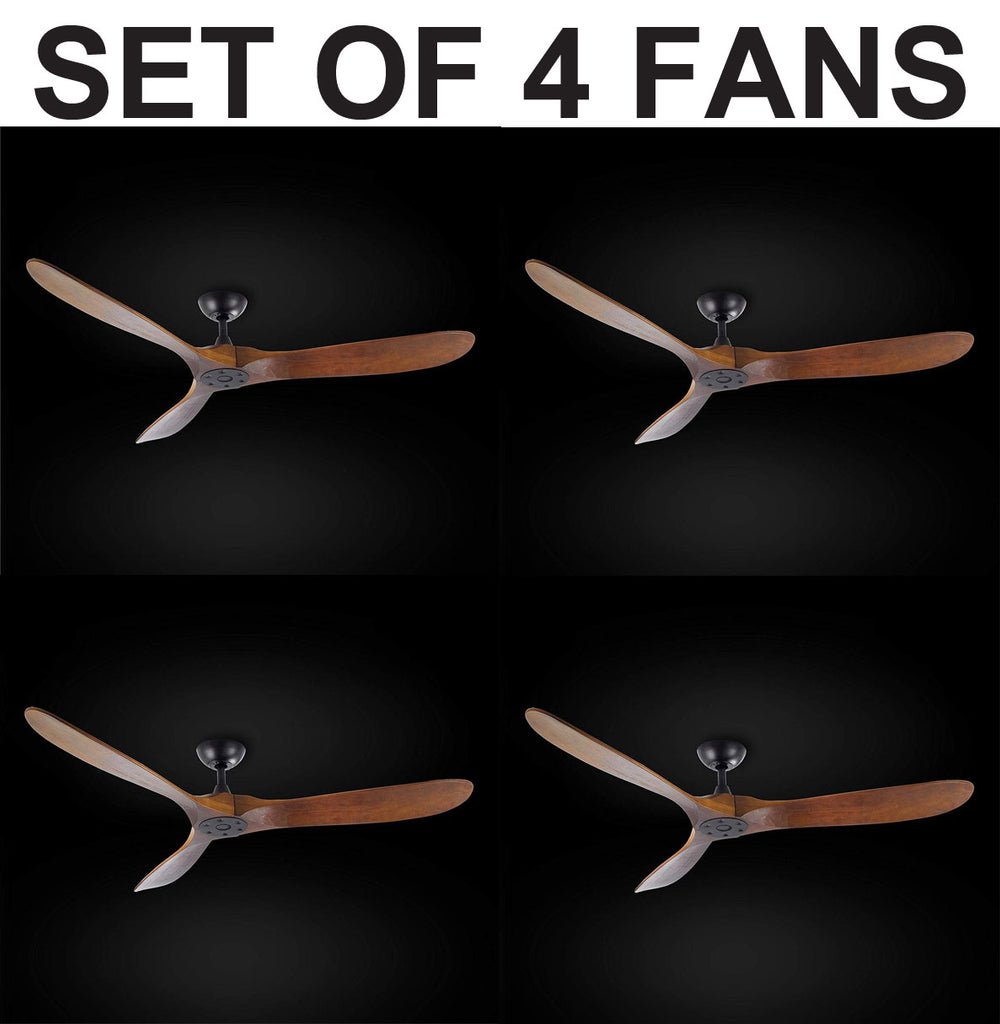 "Set of 4 - Indoor/Outdoor Ceiling Fan - Vintage Rustic Propeller Wood Indoor/Outdoor Ceiling Fan - 60"" Diameter - G7-18/15/4561-Set of 4"