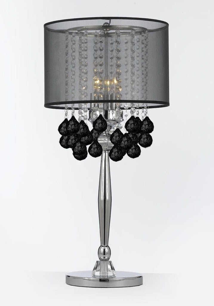 Silver Mist 3 Light Chrome Crystal Table Lamp Desk Lamp Bedside Lamp with Black Shade Contemporary and 40 mm Crystal Balls - T204-C0036/BLK-B103