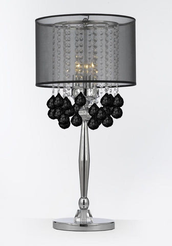 Silver Mist 3 Light Chrome Crystal Table Lamp Desk Lamp Bedside Lamp with Black Shade Contemporary and 40 mm Crystal Balls - J10-C0036/BLK-B103