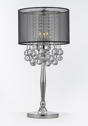 Silver Mist 3 Light Chrome Crystal Table Lamp Desk Lamp Bedside Lamp with Black Shade Contemporary and 40 mm Crystal Balls T204-C0036-BLK/B6