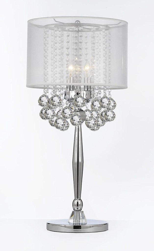 Silver Mist 3 Light Chrome Crystal Table Lamp Desk Lamp Bedside Lamp with White Shade Contemporary and 40 mm Crystal Balls - T204-C0036-WH/B6