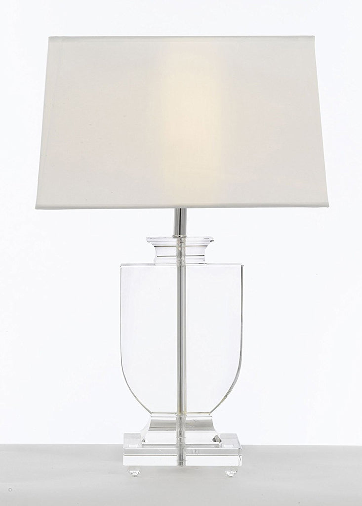 Crystal Urn Table Lamp with White Shade Modern Glass Contemporary Modern Lamp Desk, Bedside, Living Room, For Bedroom, Buffet - J10-GM-C0012T