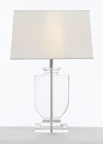 Crystal Urn Table Lamp with White Shade Modern Glass Contemporary Modern Lamp Desk, Bedside, Living Room, For Bedroom, Buffet - T204-GM-C0012T