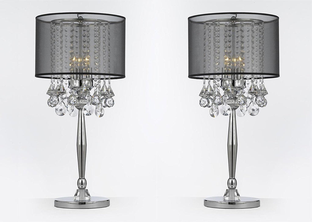 Silver Mist 3 Light Chrome Crystal Table Lamp with Black Shade Transitional Contemporary Modern Lamp - T204-GM-C0036T-B-SET OF 2