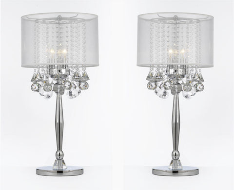 Silver Mist 3 Light Chrome Crystal Table Lamp with White Shade Transitional Contemporary Modern Lamp - T204-GM-C0036T-W-SET OF 2