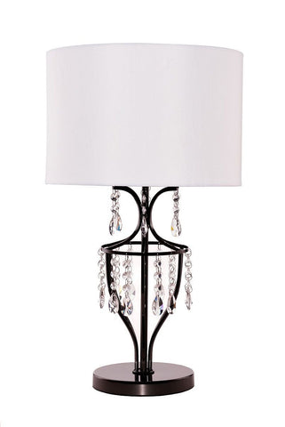 Elena Crystal Chrome Table Lamp with White Shade - Living Room, Dining Room, Bedroom Lamp - GO-T204-GM-C0071T-W