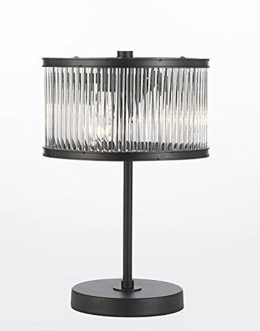 Crystal Rod Iron Table Lamp 1920s Essex Contemporary Modern, Desk Lamp, Bedside, Living Room, For Bedroom, Buffet - T204-GM-FC00101F
