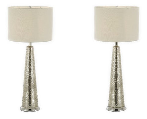 Set of 2 - Hammered Chrome Metal Table Lamp With Shade Bedside Lamp , Desk Lamp - T204-SP-101-SET OF 2