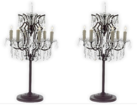 Set of 2 - Rococo Crystal 6 Light Table Lamp Bedside Lamp Desk Lamp - T204-SP-104-SET OF 2
