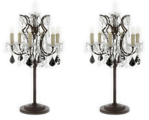 Set of 2 - Rococo Crystal 6 Light Table Lamp Bedside Lamp Desk Lamp with Black Crystal - T204-SP-104-B97-SET OF 2