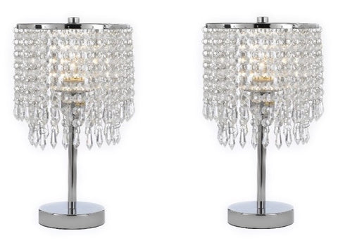 Set of 2 - Chrome Round Crystal Bedroom Desk Lamp Table Lamp Bedside Lamp - T204-SP-106-SET OF 2