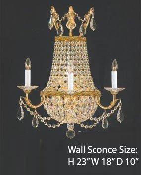 "Crystal Trimmed Wall Sconce! Empire Crystal Wall Sconce Lighting W18""  H23"" D10"" - A81-1/8/GOLD/WALLSCONCE"