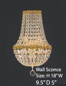 "Swarovski Crystal Trimmed Wall Sconce Empire Crystal Wall Sconce W/Swarovski Crystal Lighting W 9.5"" H 18"" D 5"" - A81-Cg/4/5Sw/Wallsconce"