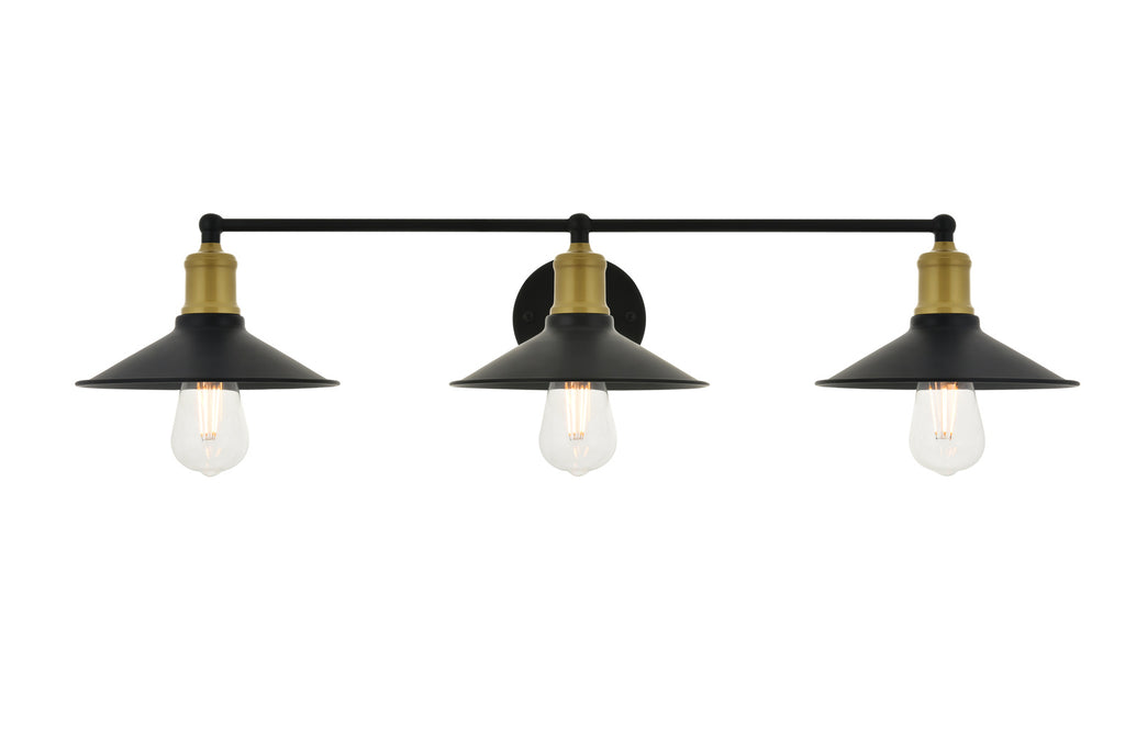 ZC121-LD4033W33BRB - Living District: Etude 3 light brass and black Wall Sconce