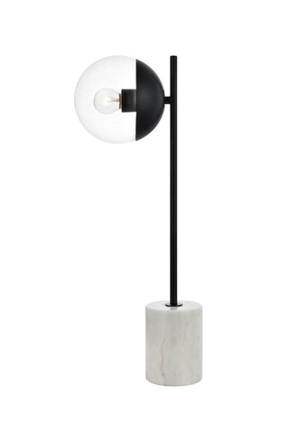 ZC121-LD6105BK - Living District: Eclipse 1 Light Black Table Lamp With Clear Glass