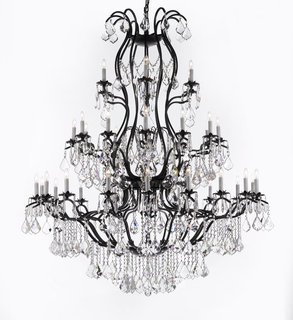 "Large Foyer / Entryway Wrought Iron Chandelier Lighting With Crystal H60"" X W52"" - A83-3031/36"
