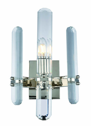 ZC121-1530W10PN/RC - Urban Classic: Lincoln 1 light Polished Nickel Wall Sconce Clear Royal Cut Crystal