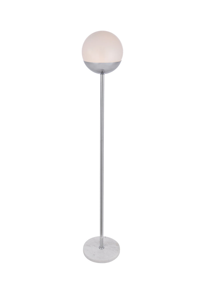 ZC121-LD6148C - Living District: Eclipse 1 Light Chrome Floor Lamp With Frosted White Glass